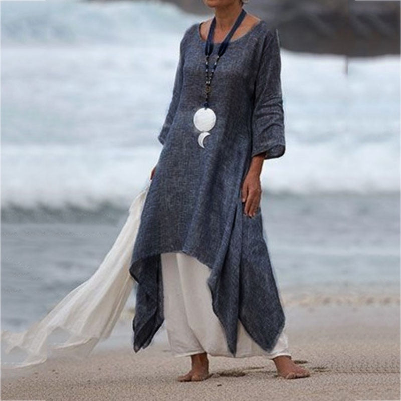 Solid maxi dress Long Dress Plus Size Vintage loose boho dress Women Sleeve dress women summer Beach robe longue sukienkia  #G8 - BohoEntice