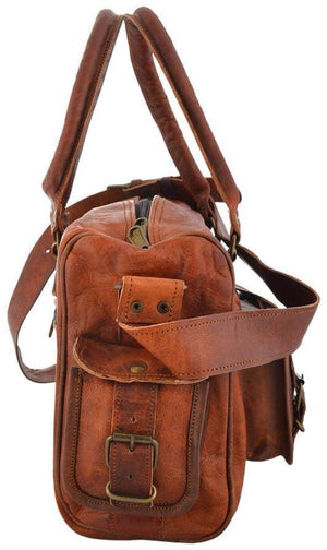 Brown Vintage Four Pocket Leather Handy Tote Bag - BohoEntice