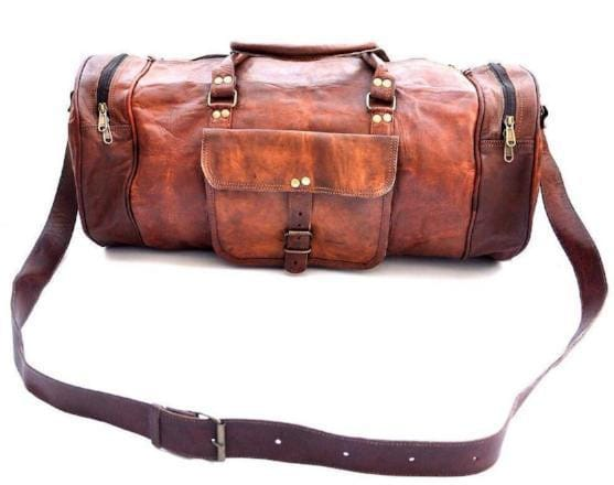 Trent Rustic Brown Leather Traveler Bag Large Duffel Bag - BohoEntice