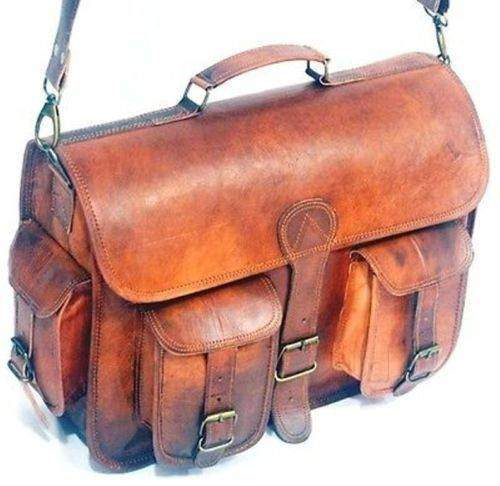 Classic Vintage Men's Andy Leather messenger Satchel Bag, Crossbody bag, Leather Shoulder Bag - Halloween Gift