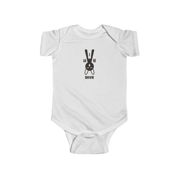 I Said Meow Upside Down Kitty Onesie White