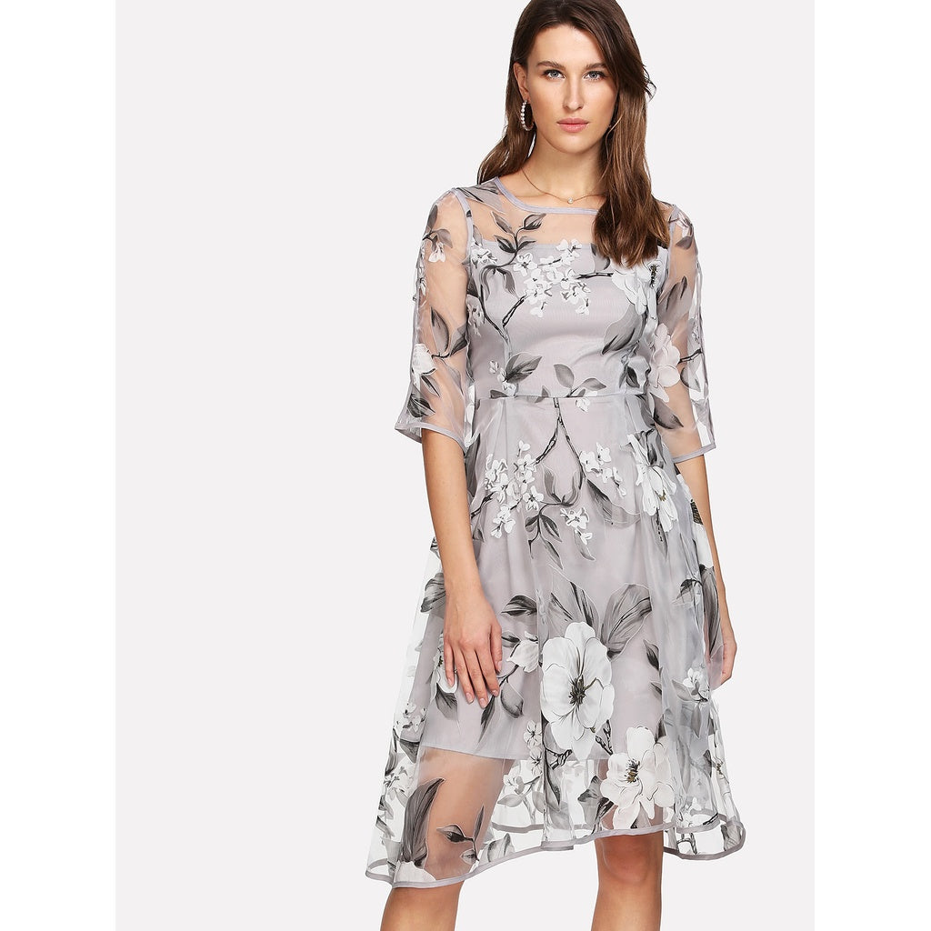 Floral Organza Overlay 2 In 1 Dress - SHOP GET DRESSED