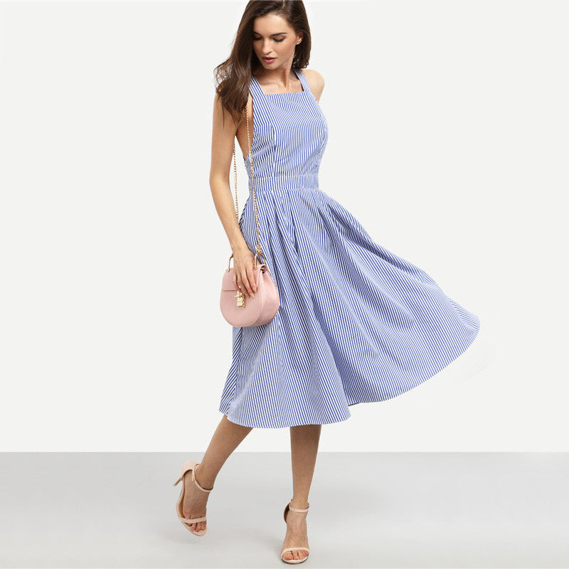 Sexy Midi Summer Blue Striped Square Neck Sleeveless Crisscross Back A Line Dress - SHOP GET DRESSED