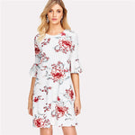 Flare Sleeve Floral Textured Round Neck Half Sleeve Ruffle Short Spring Loose Dress - SHOP GET DRESSED