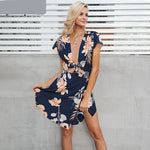 Deep V-Neck Back Keyhole Cut Out Bow Tie Floral Dress - SHOP GET DRESSED