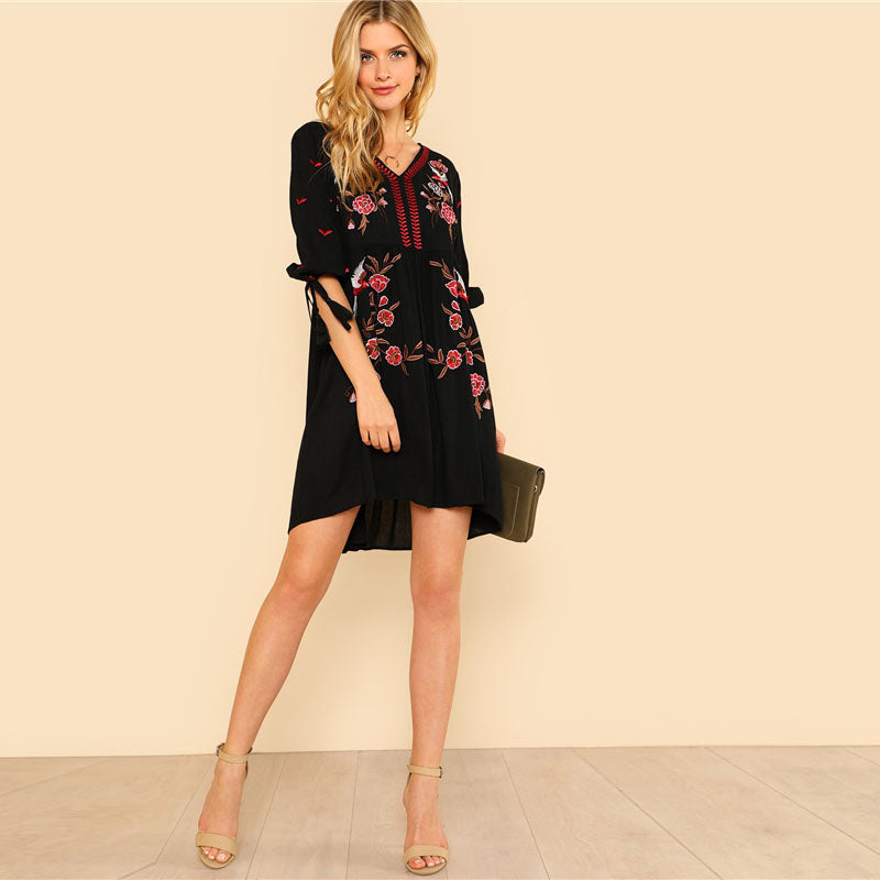 Floral Embroidered Tassel Tie Cuff Asymmetrical V Neck Half Sleeve High Waist Tribal Dress - SHOP GET DRESSED