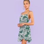 Ruffle Knot Side Palm Print Cami Spaghetti Strap Sleeveless Tropical Short Dress - SHOP GET DRESSED