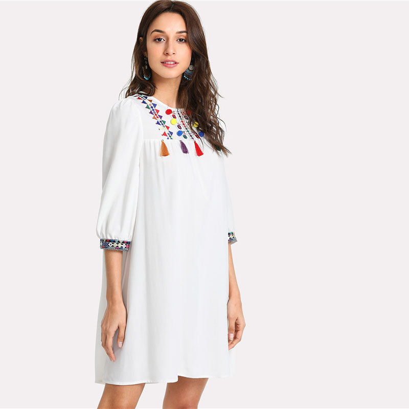 Embroidered Yoke Pompom And Tassel Round Neck Puff Sleeve Geometric Dress - SHOP GET DRESSED