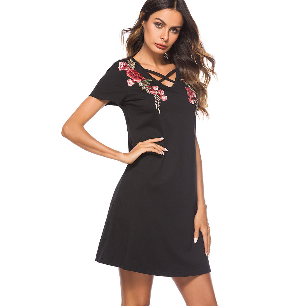 Embroidery Short Sleeve Shift Dress - SHOP GET DRESSED