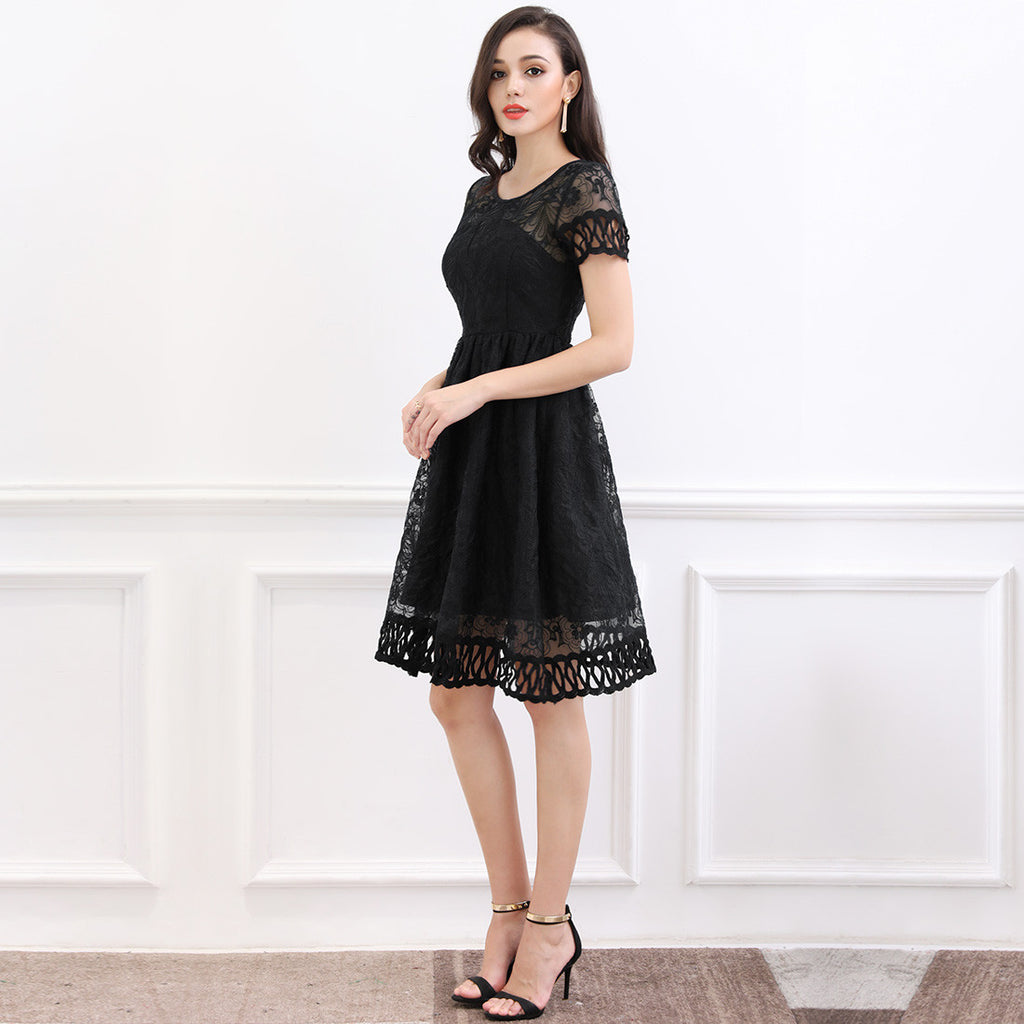 Retro Flare Lace Evening Party Dress - SHOP GET DRESSED