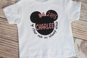 Personalized Toddler First Trip To Disney Shirt For World Family Vacation