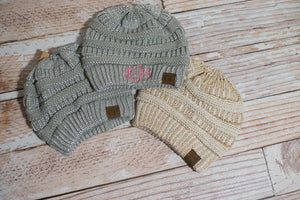4e9fd2b1 CC Beanie Hats Silver Grey or Cream and Gold with Monogram on the front