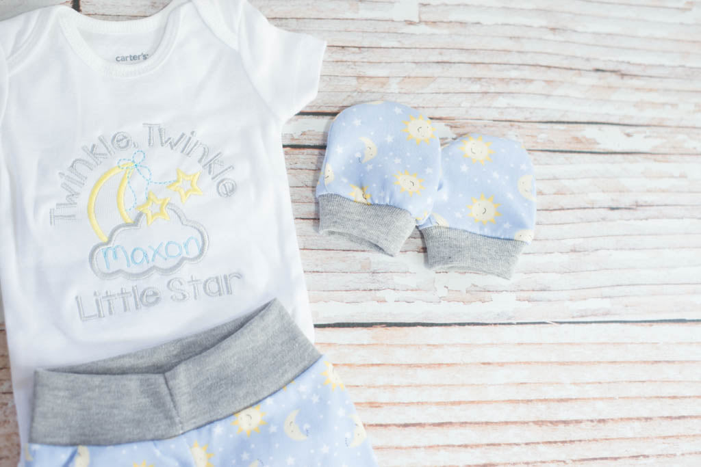 36c43181a ... Personalized Baby Boy Twinkle Twinkle Little Star Light Blue and Grey Baby  Shower Gift/ Coming ...