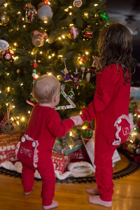 Personalized Red Girls or Boys Christmas Pajamas with Bum or Butt Flap 985dea609