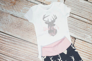 f8dffe945 Daddy's Girl Baby Deer Navy and Pink Pants and Bodysuit Set for Coming Home  Outfit