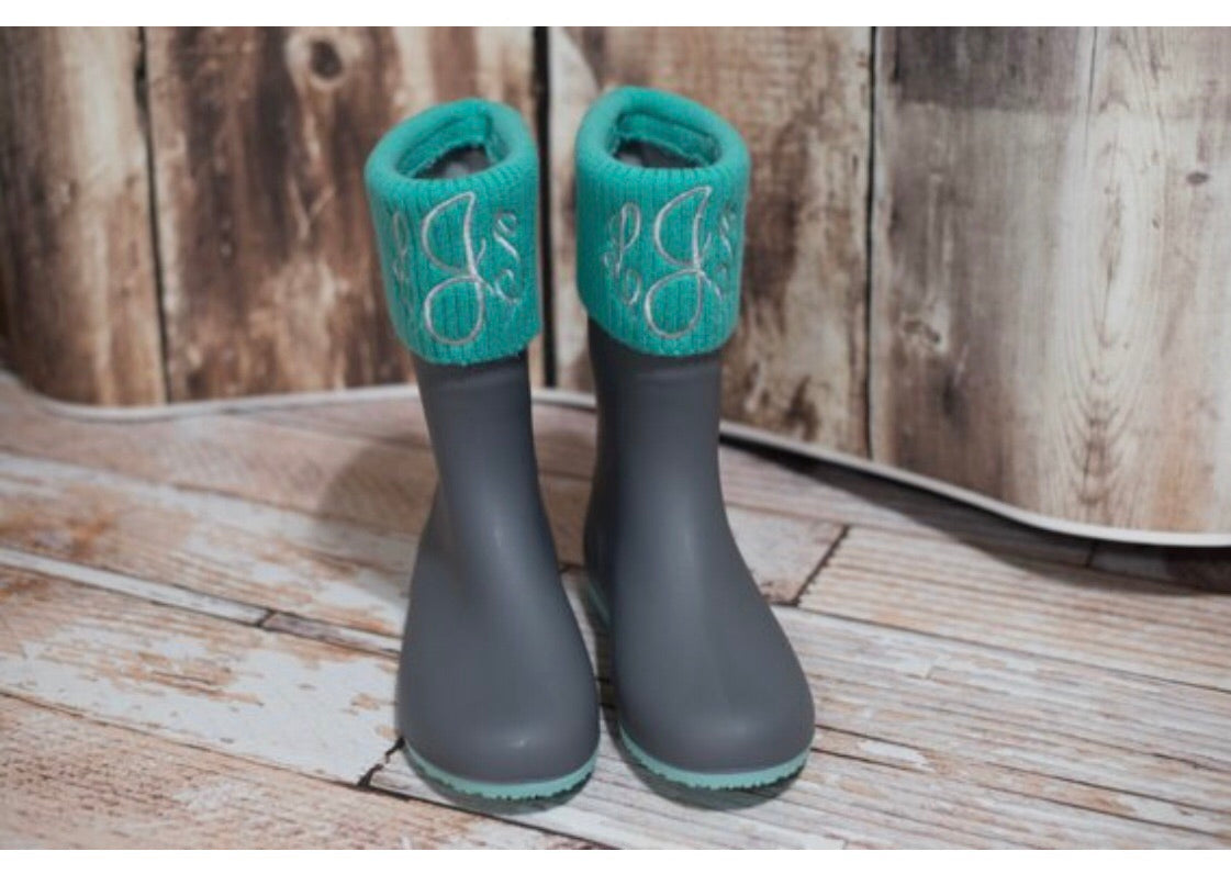 4f184bd7f4b35 Turquoise and Grey personalized Monogram Rain Boots