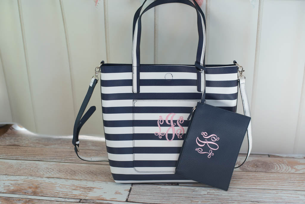 personalized tote bag with coordinating pouch and pocket gift sew