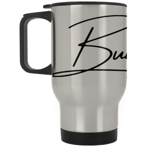 BUILT TO LAST BLACK Silver Stainless Travel Mug