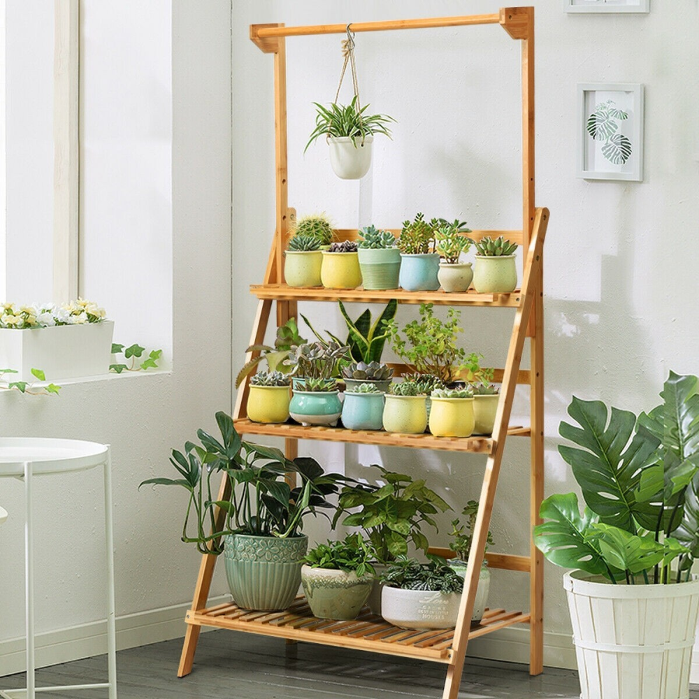 3 Tiers Bamboo Hanging Folding Plant Shelf Stand www.wallandroom.com