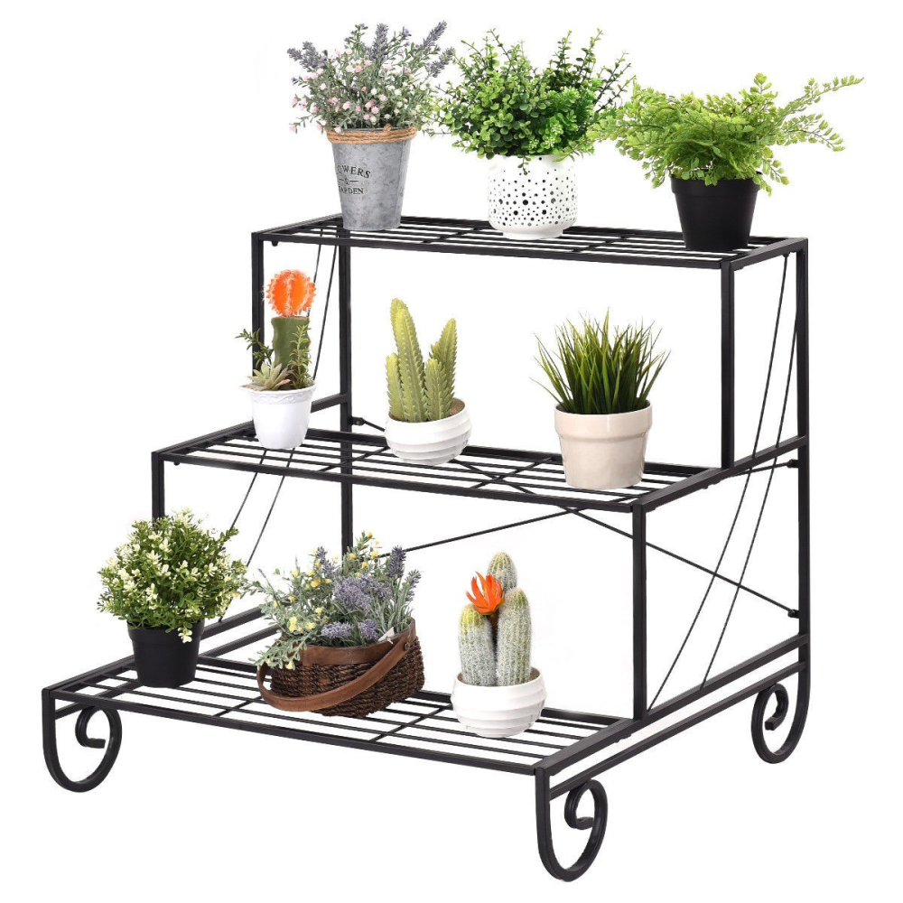 3 Tier Outdoor Metal Garden Planter Holder Shelf www.wallandroom.com