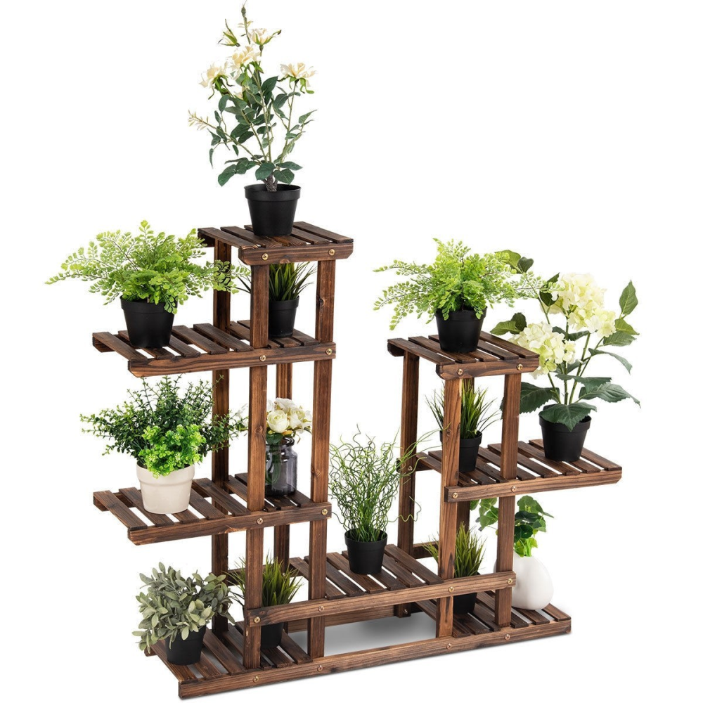 6 Tier Wooden Shelf Storage Plant Rack Stand www.wallandroom.com