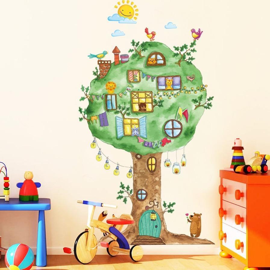 Cartoon Tree House Vinyl Wall Stickers for Kids room Kindergarten Baby room Wall Decoration Home Decor Art Decals Mural dc8