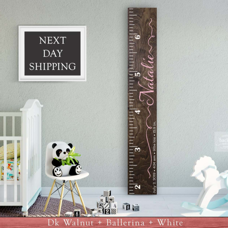 Wooden Kids Growth Height Chart Ruler for Boys and Girls No Birth Stats / Dk Wal + White www.wallandroom.com