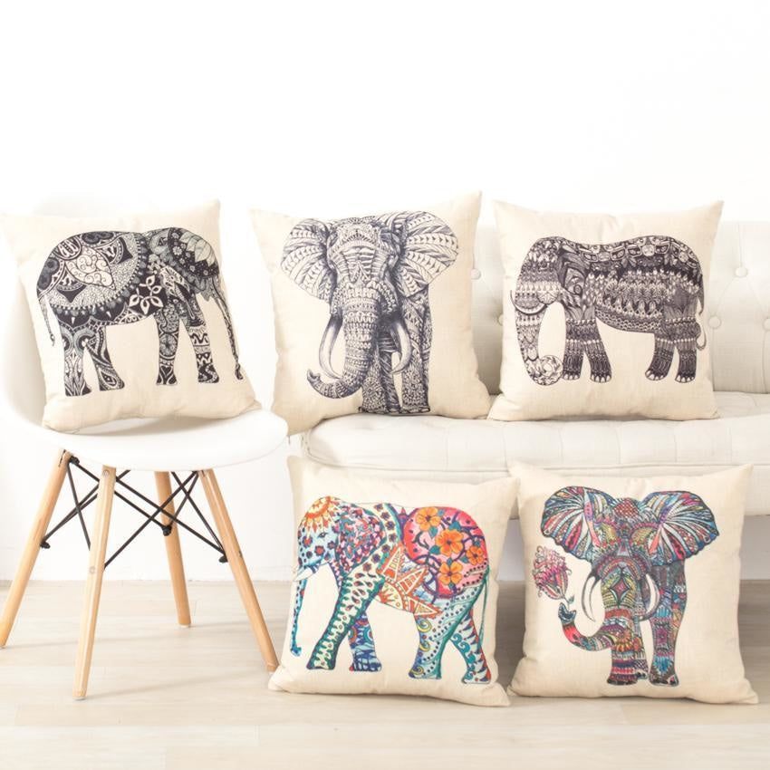 Elephant Cushion Covers - Decorative Throw Pillow Covers - wallandroom.com