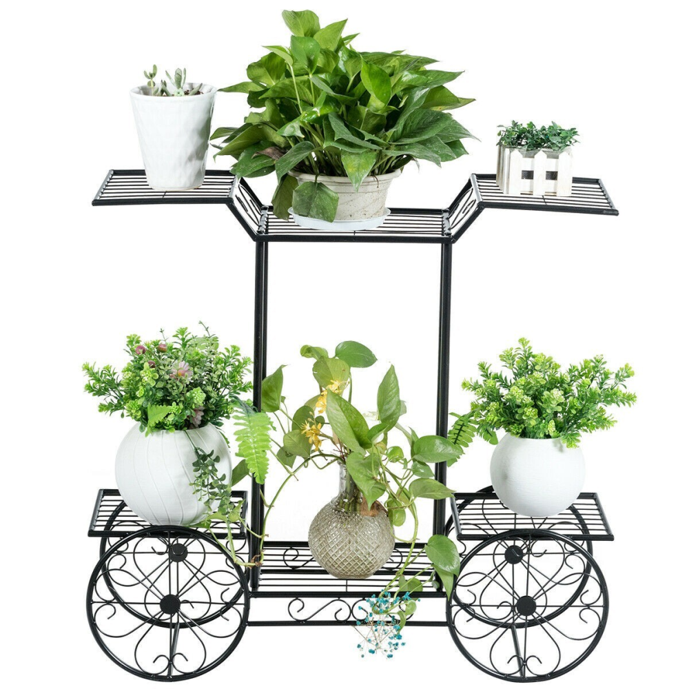 6-Tier Garden Cart Flower Rack Display Decor Pot Plant Holder www.wallandroom.com
