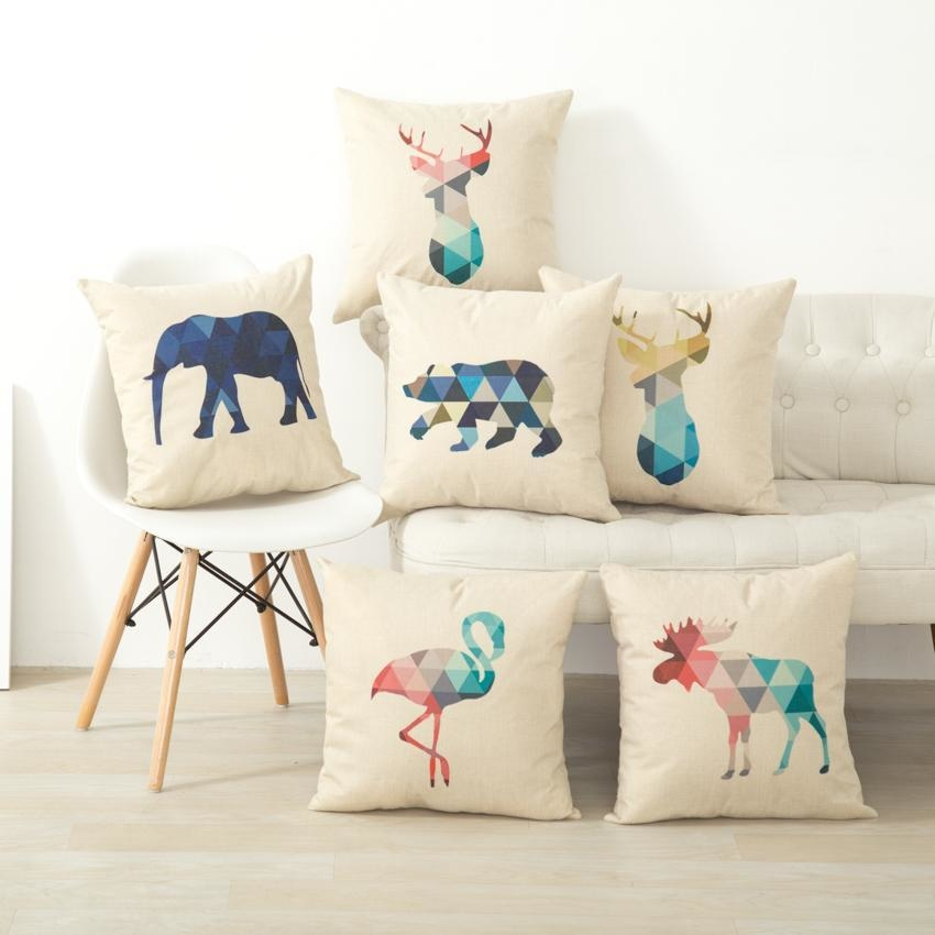 Geometric Animals - Nordic Throw Pillow Covers - wallandroom.com