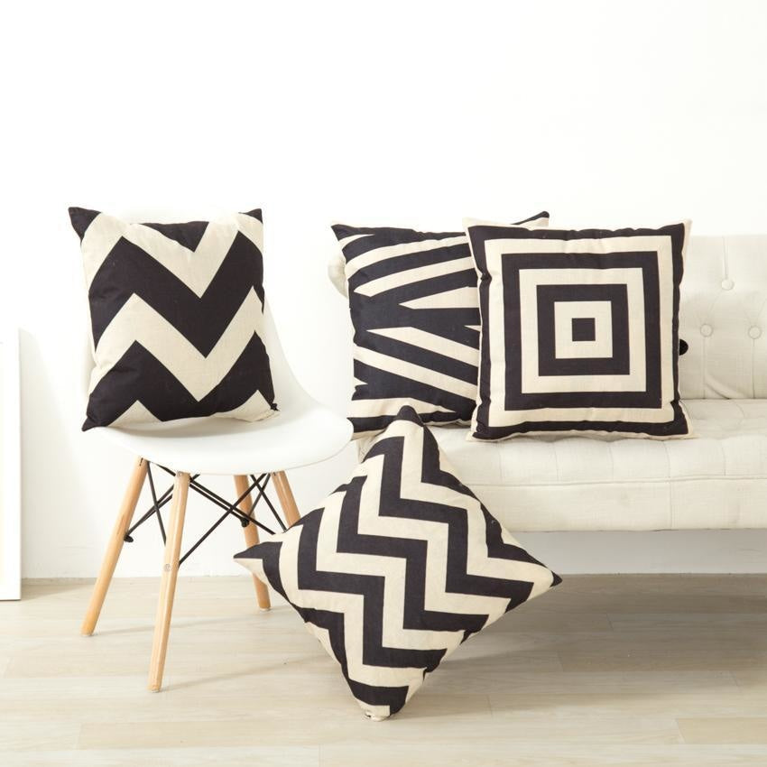 Geometric Cushion Covers - Black and Beige Throw Pillow Covers - wallandroom.com