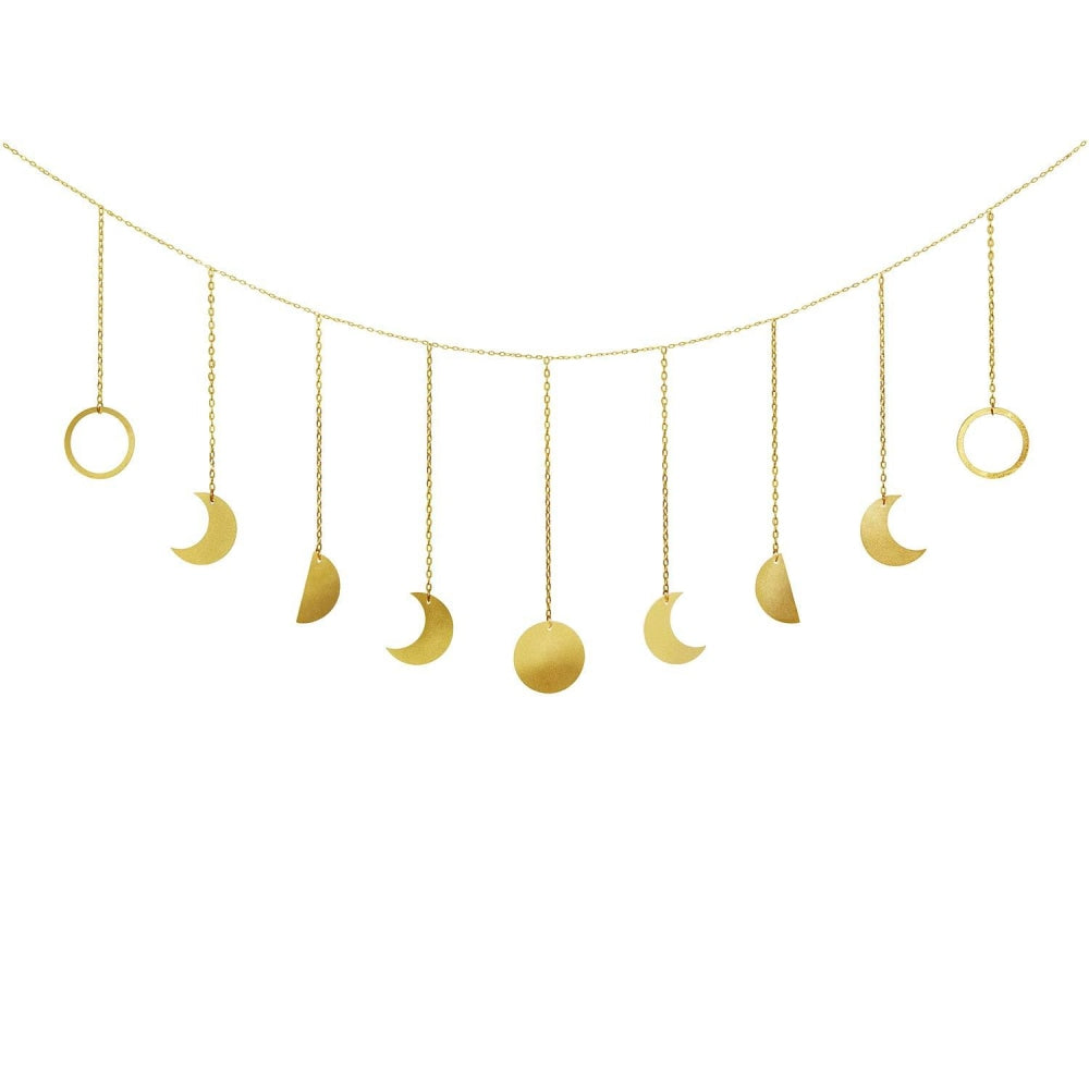 Golden Moon Phases Wall Hanging - Stylish Wall Décor - wallandroom.com