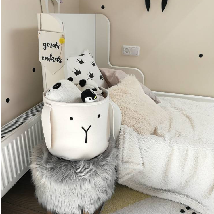 Handmade Nordic inspired felt bunny toy storage for kids room www.wallandroom.com