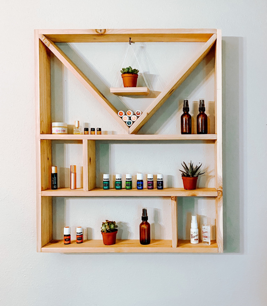 Large Essential Oil Shelf | Crystal Display Shelf Golden Oak www.wallandroom.com