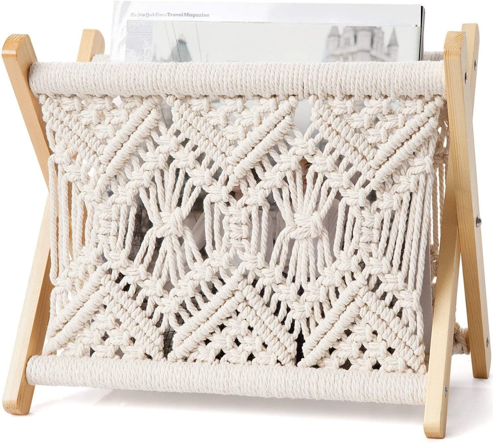 Macramé Magazine Rack - Practical Room Decor - wallandroom.com