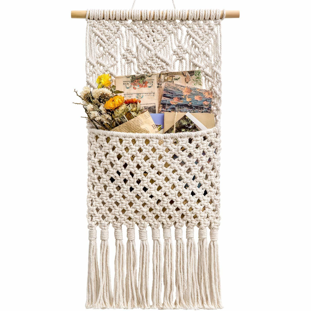 Macrame Storage Wall Hanging - Handmade Wall Decor Organizer - wallandroom.com