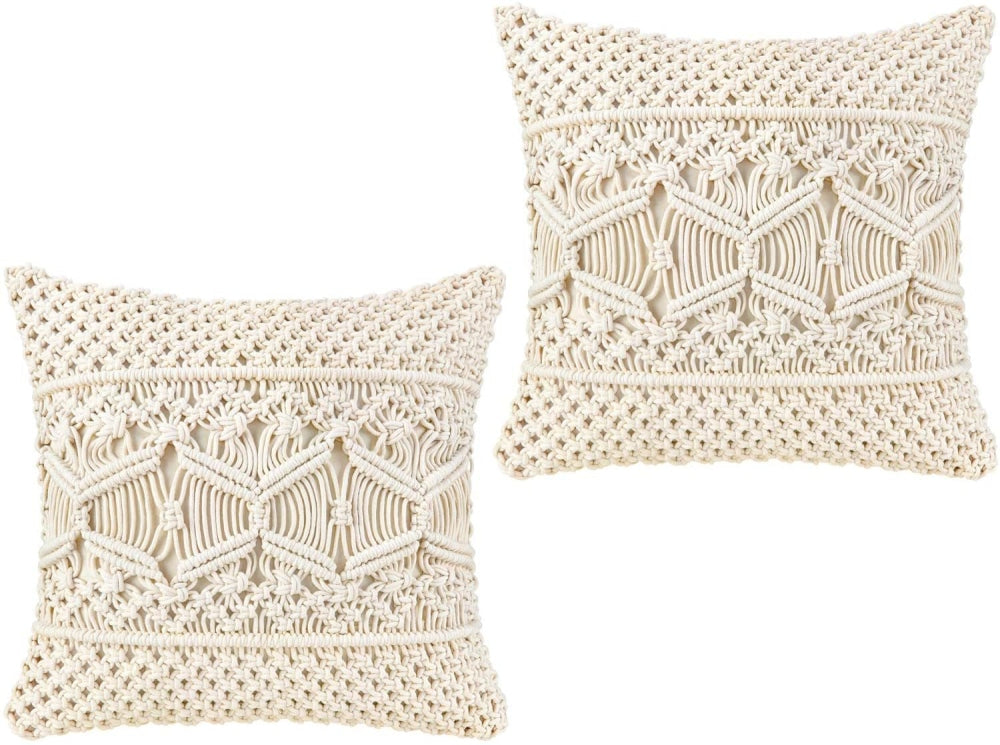 Macramé Throw Pillow Covers - Decorative Cushion Covers - wallandroom.com