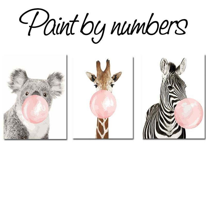 Paint By Numbers Kit - Bubble Gum Animals DIY Wall Art www.wallandroom.com