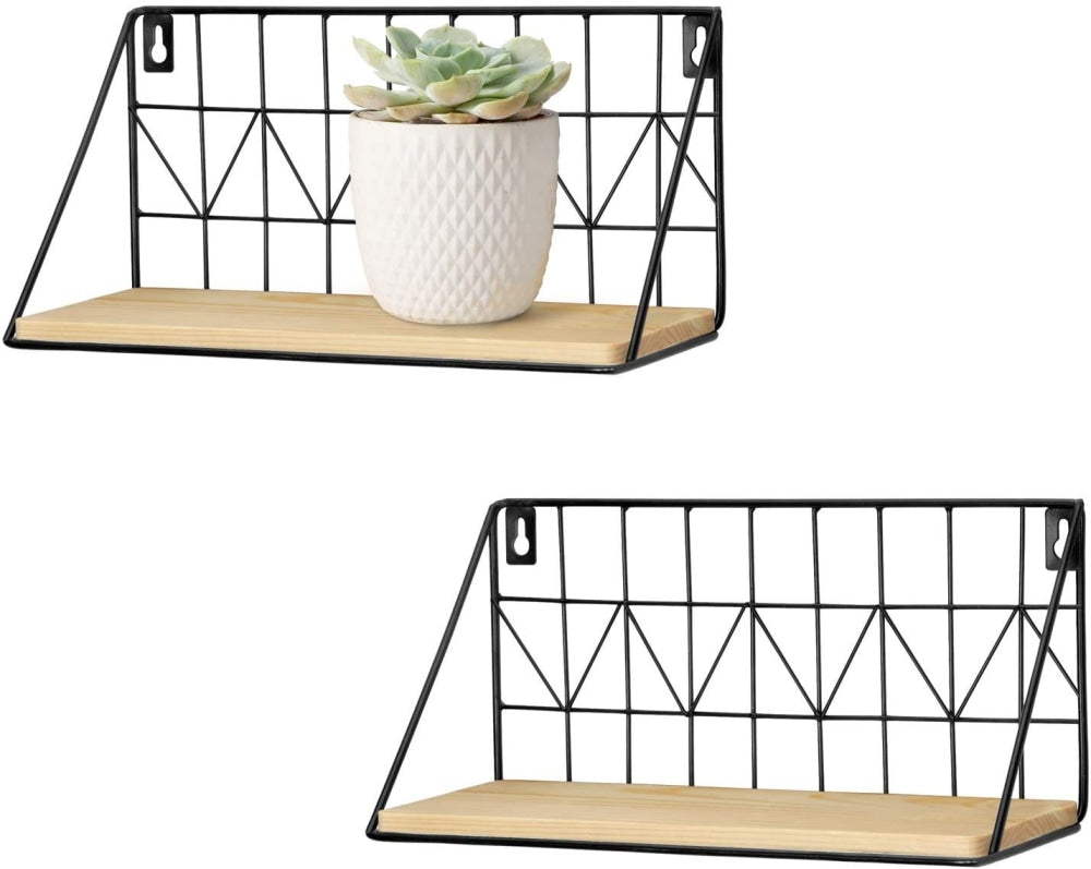 Set Of 2 Metal And Wood Shelves - Practical Floating Wall Storage - wallandroom.com