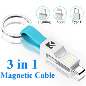 3-in-1 USB Keychain - Lighting/Micro USB/Type C