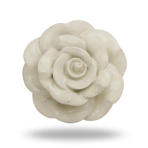 Ceramic Bloomer Flower Knob -White