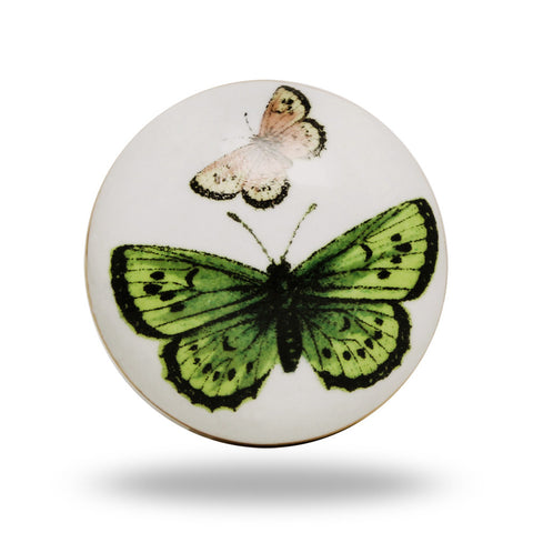 CERAMIC GREEN AND PINK BUTTERFLY KNOB