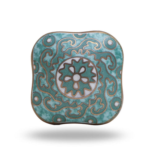 Reggane Square Ceramic Knob - Green