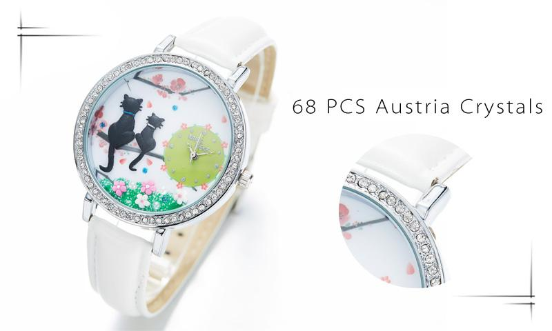 Handcrafted Cat Quartz Watch with Rhinestones