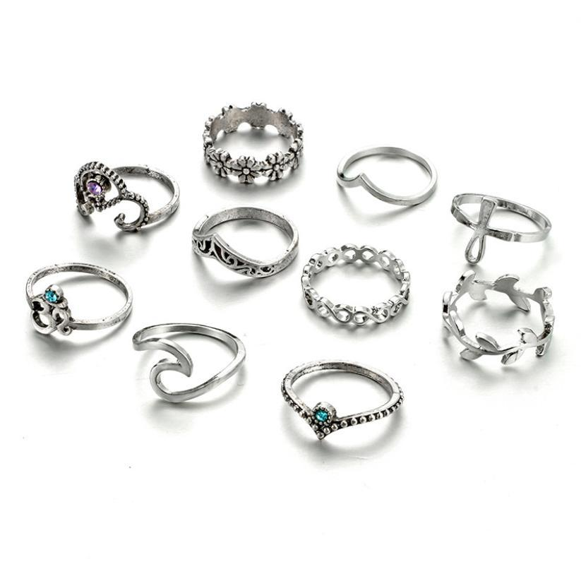10 Piece Bohemian Knuckle Ring Set