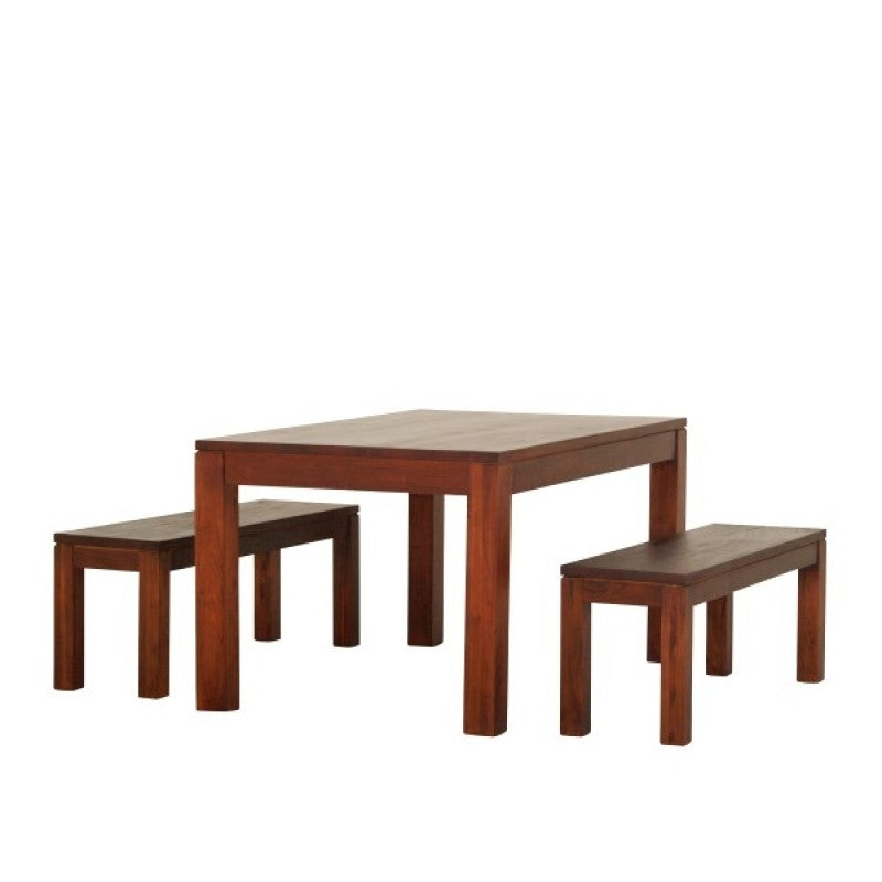 Sweden Amsterdam Teak Solid Timber 150 x 90 cm Rectangular Dining Table and 2 Bench 120 cm  - ( Picture, Color for Reference Only ) ( Light Pecan Color )