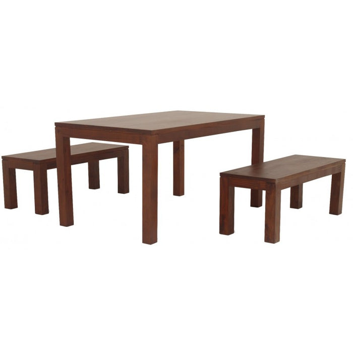 Sweden Amsterdam Teak Solid Timber 180 x 90 cm Rectangular Dining Table and 2 Bench 150 cm  - ( Picture, Color for Reference Only ) ( Light Pecan Color )
