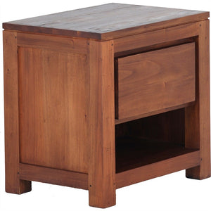 Amsterdam Teak Solid Timber Single Drawer Bedside Table - Light Pecan