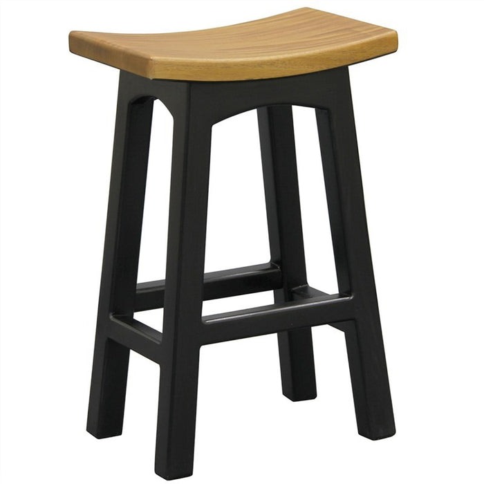 Teak Solid Wood Timber Counter Stool, Black / Caramel TFS168 BR-067-WD-BLR