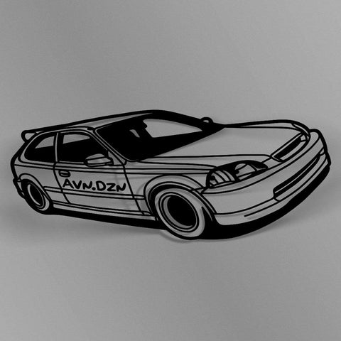 avn.dzn Decal Gloss Black EK Hatch Outline Die Cut